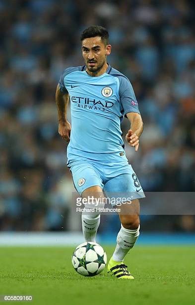 lkay Gundogan of Manchester City in action during the UEFA Champions League match between Manchester City FC and VfL Borussia Moenchengladbach at...