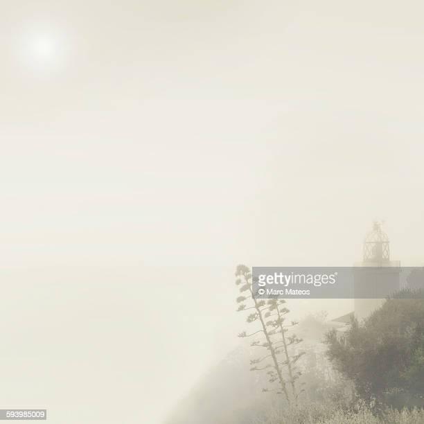 llafranc lighthouse on a foggy day - marc mateos fotografías e imágenes de stock