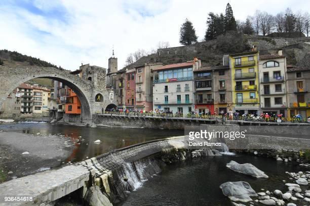 Llanars-Vall De Camprodon City / Landscape / Peloton / Bridge / during the 98th Volta Ciclista a Catalunya 2018, Stage 4 a 170,8km stage from...