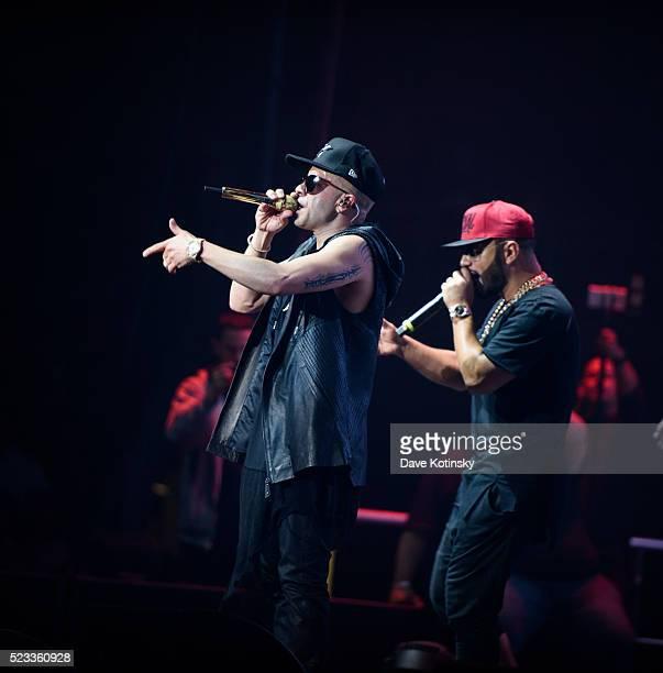 Llandel Veguilla and Alex Sensation performs the Mega Mezcla 2016 at Prudential Center on April 22 2016 in Newark New Jersey