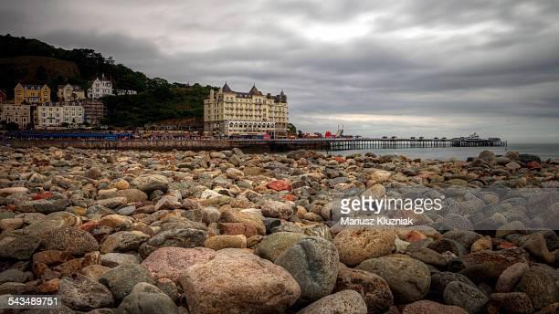 Llandudno pebble beach pier and Great Orme