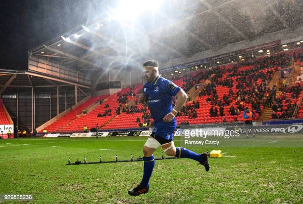 Llanelli United Kingdom 9 March 2018 Leinster captain Sean O'Brien runs out ahead of the Guinness PRO14 Round 17 match between Scarlets and Leinster...