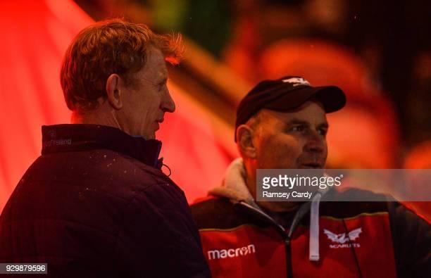 Llanelli United Kingdom 9 March 2018 Leinster head coach Leo Cullen left and Scarlets head coach Wayne Pivac following the Guinness PRO14 Round 17...