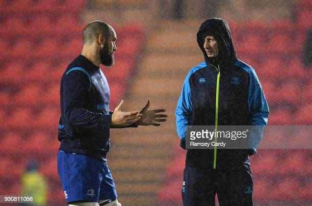 Llanelli United Kingdom 9 March 2018 Leinster head coach Leo Cullen right and Scott Fardy of Leinster ahead of the Guinness PRO14 Round 17 match...