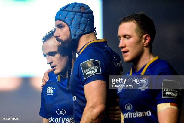 Llanelli United Kingdom 9 March 2018 Nick McCarthy left and Scott Fardy of Leinster following their side's draw in the Guinness PRO14 Round 17 match...