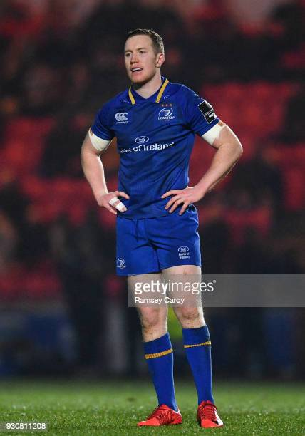 Llanelli United Kingdom 9 March 2018 Rory OLoughlin of Leinster during the Guinness PRO14 Round 17 match between Scarlets and Leinster at Parc Y...