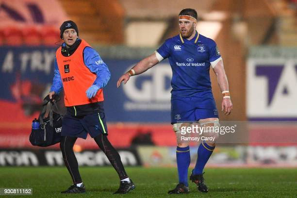 Llanelli United Kingdom 9 March 2018 Seán OBrien of Leinster and Leinster head physiotherapist Garreth Farrell during the Guinness PRO14 Round 17...