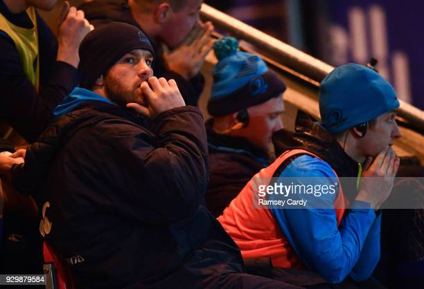 Llanelli United Kingdom 9 March 2018 Seán OBrien of Leinster watches the final moments of the game from the bench after picking up a first half...