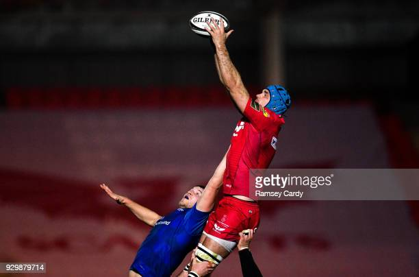 Llanelli United Kingdom 9 March 2018 Tadhg Beirne of Scarlets in action against Ross Molony of Leinster during the Guinness PRO14 Round 17 match...