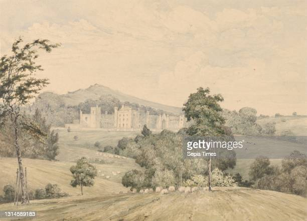 Llanerchydol Hall, Wales, Robert Streatfeild, 1786–1852, undated, Watercolor on medium, smooth, white wove paper, Sheet: 4 1/2 × 6 1/4 inches and...