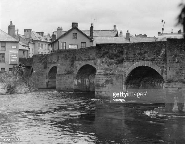 Llanfaes Bridge standing over The River Usk in Brecon a market town and community in Powys Mid Wales 24th February 1954