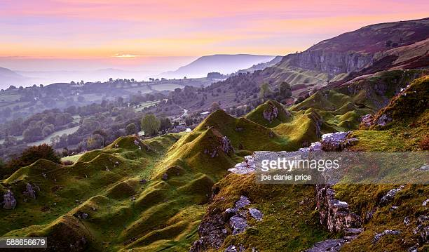 llangattock escarpment - escarpment stock pictures, royalty-free photos & images
