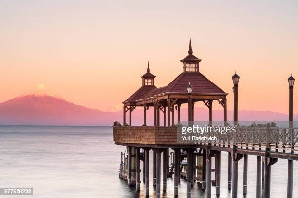 Llanquihue lake and pier at sunrise, Osorno, Los Lagos, Chile