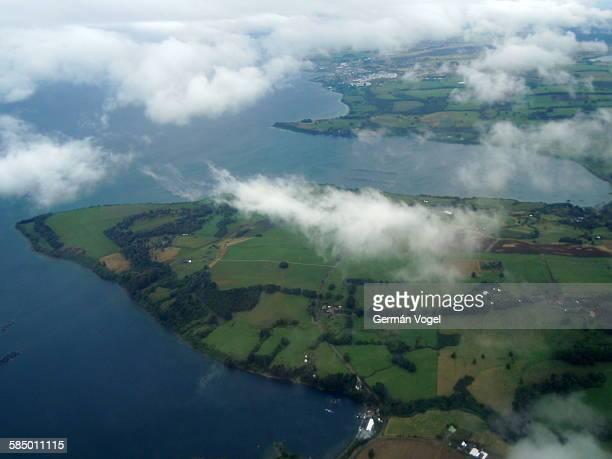 Llanquihue lake, Chile, aerial view through clouds