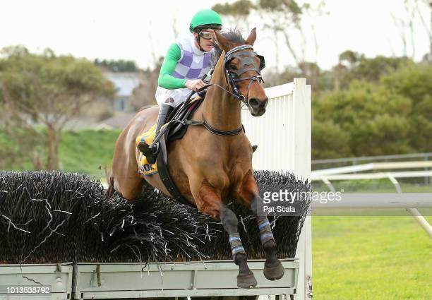 I'll'ava'alf ridden by Jarrod Lynch wins the Toot Traffic BM120 Steeplechase at Warrnambool Racecourse on August 09 2018 in Warrnambool Australia