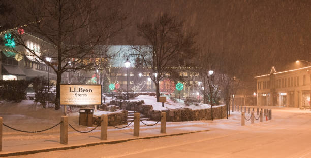 LLBean in Freeport Maine during snow storm