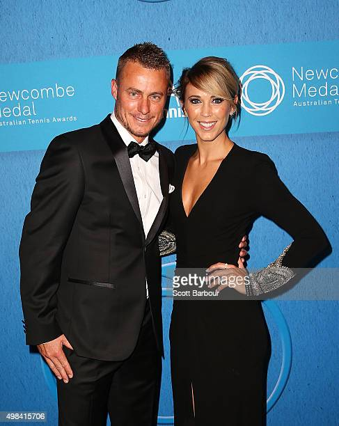 Lleyton Hewitt and Bec Hewitt arrive at the 2015 Newcombe Medal at Crown Palladium on November 23 2015 in Melbourne Australia