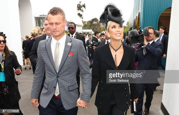 Lleyton Hewitt and Bec Hewitt arrive at the Kennedy Marquee on Melbourne Cup Day at Flemington Racecourse on November 7 2017 in Melbourne Australia