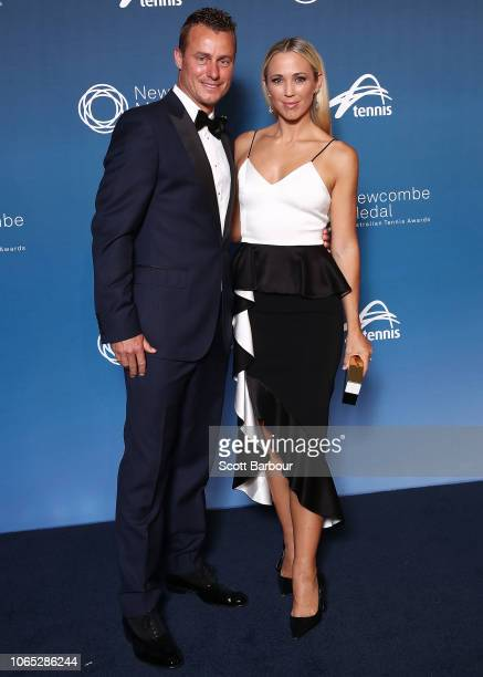 Lleyton Hewitt and Bec Hewitt pose ahead of the Newcombe Medal at Crown Entertainment Complex on November 26 2018 in Melbourne Australia