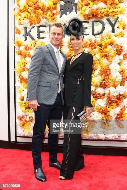 Lleyton Hewitt and Bec Hewitt pose at the Kennedy Marquee on Melbourne Cup Day at Flemington Racecourse on November 7 2017 in Melbourne Australia