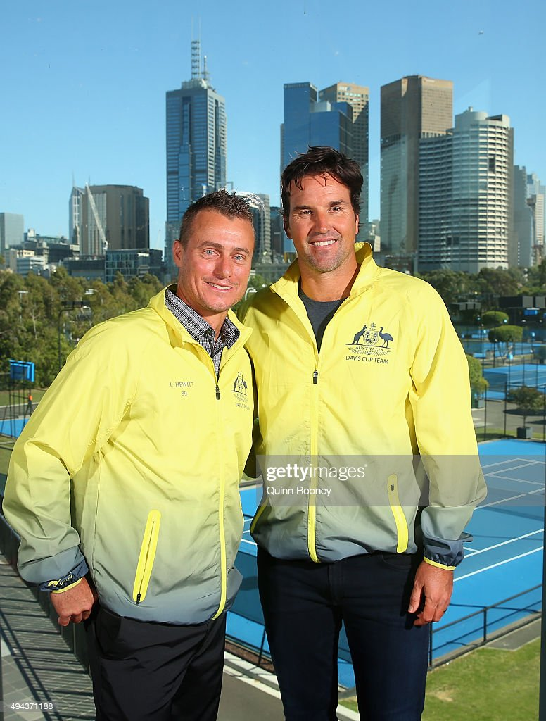 Lleyton Hewitt and Pat Rafter pose during a Tennis Australia media opportunity at Melbourne Park at Melbourne Park on October 27, 2015 in Melbourne, Australia. Hewitt was today named as Australia's Davis Cup Captain