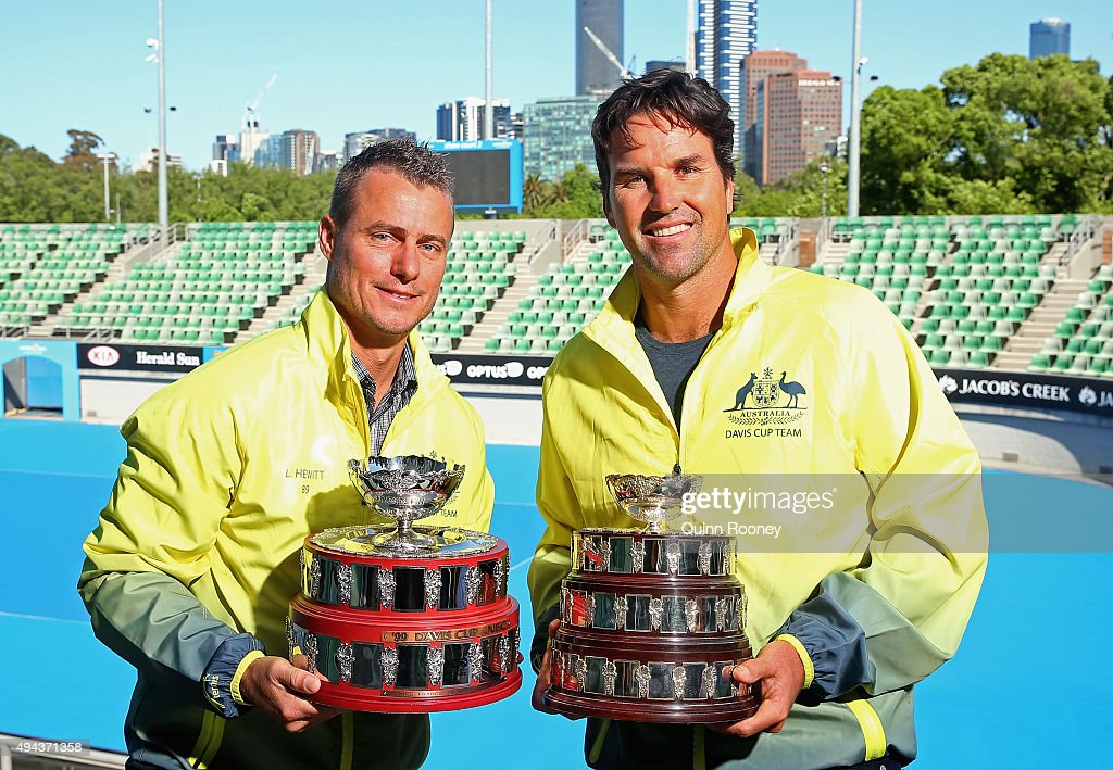 Lleyton Hewitt and Pat Rafter pose during a Tennis Australia media opportunity at Melbourne Park at Melbourne Park on October 27, 2015 in Melbourne, Australia. Hewitt was today named as Australia's Davis Cup Captain.