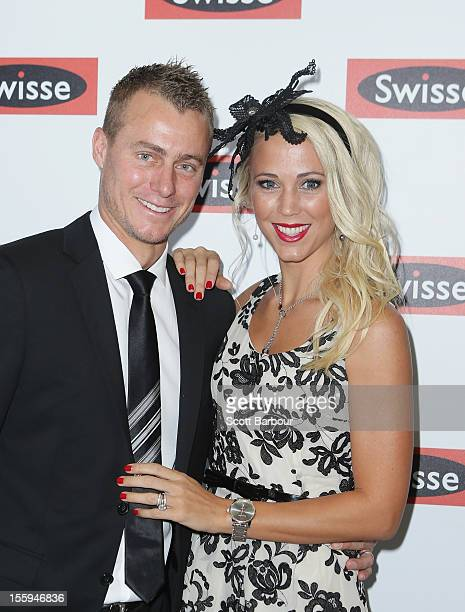 Lleyton Hewitt and Rebecca 'Bec' Hewitt attend the Swisse marquee on Stakes Day at Flemington Racecourse on November 10 2012 in Melbourne Australia