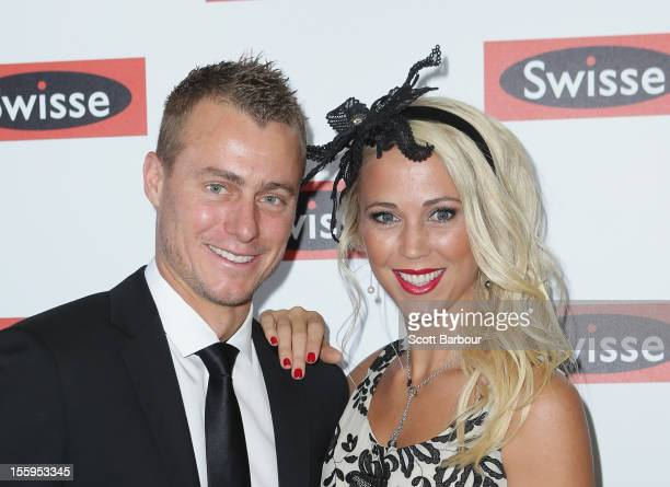 Lleyton Hewitt and Rebecca Bec Hewitt attend the Swisse marquee on Stakes Day at Flemington Racecourse on November 10 2012 in Melbourne Australia