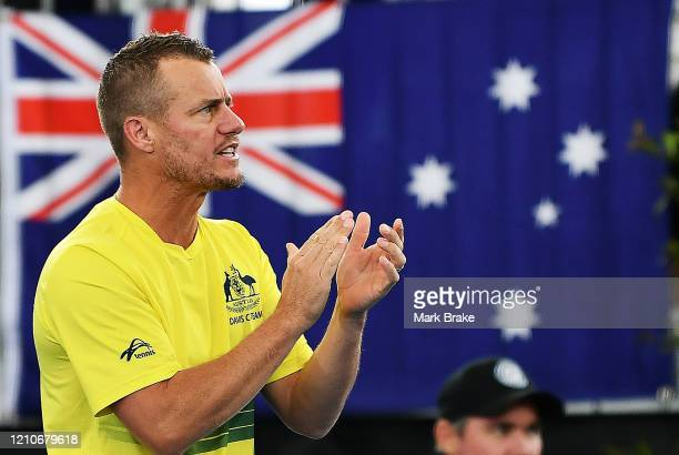 Lleyton Hewitt captain of Australia during the Davis Cup Qualifier Tie singles match between Jordan Thompson of Australia and Thiago Monteiro of...