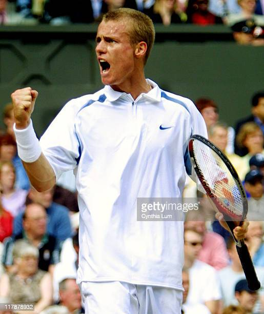 Lleyton Hewitt celebrates his 61 63 62 victory over David Nalbandian in the Men's Finals at Wimbledon