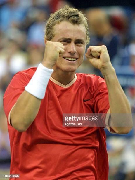 Lleyton Hewitt celebrates his 76 61 61 victory over Pete Sampras
