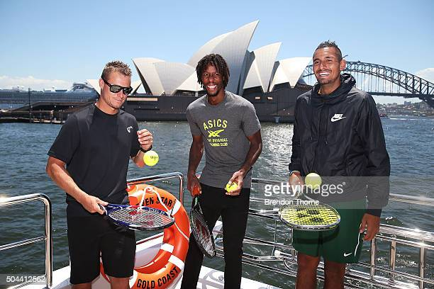 Lleyton Hewitt Gael Monfils and Nick Kyrgios share a joke during the FAST4Tennis media opportunity on Sydney Harbour on January 11 2016 in Sydney...