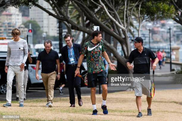 Lleyton Hewitt Grigor Dimitrov Alex Zverev arriive for the Sydney Fast4 Media Opportunity at Hickson Road Reserve on January 8 2018 in Sydney...