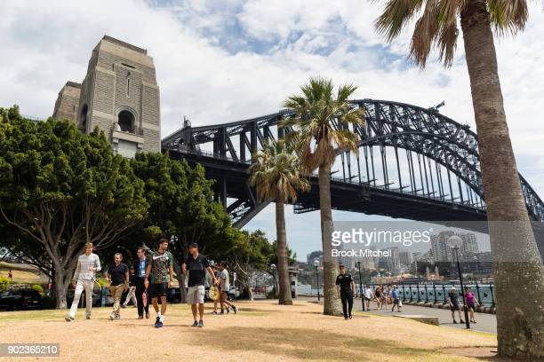 Lleyton Hewitt Grigor Dimitrov Alex Zverev arrive for the Sydney Fast4 Media Opportunity at Hickson Road Reserve on January 8 2018 in Sydney Australia