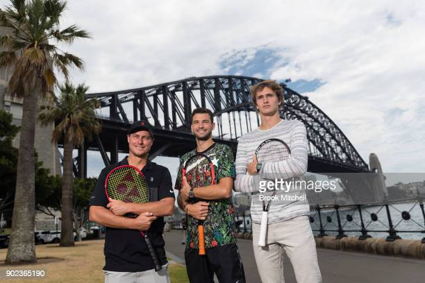 Lleyton Hewitt Grigor Dimitrov and Alex Zverev pose for a picture during the Sydney Fast4 Media Opportunity at Hickson Road Reserve on January 8 2018...