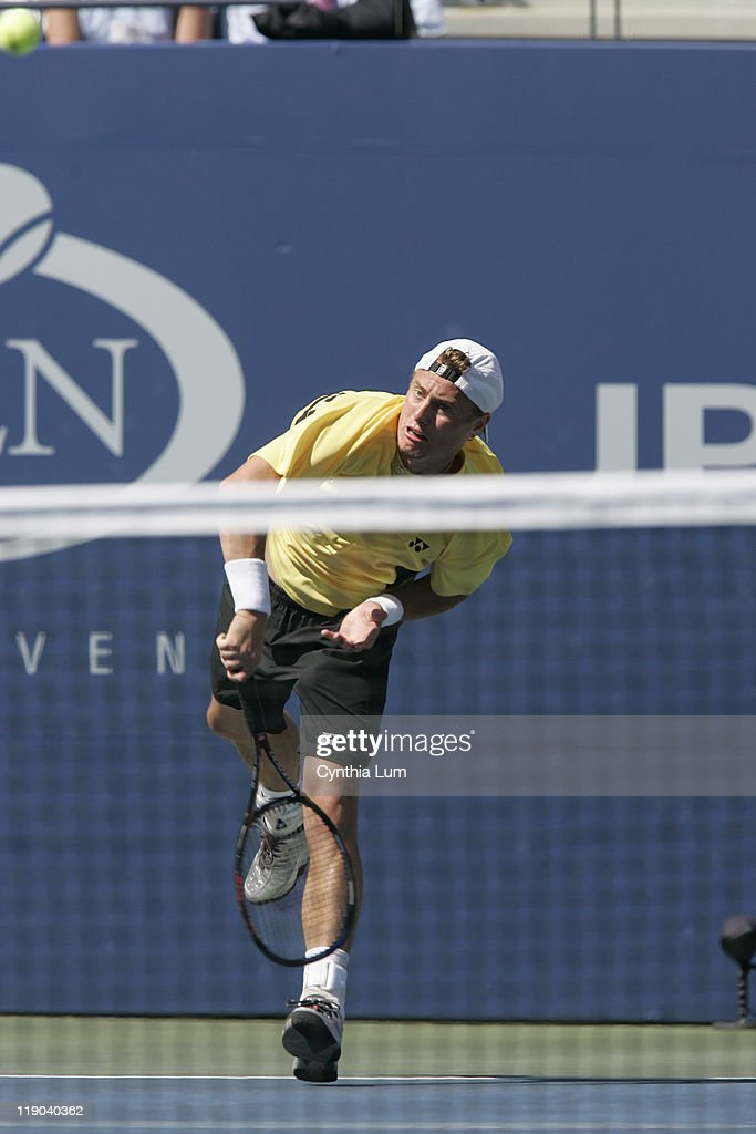 Lleyton Hewitt in action during his defeat of Dominik Hrbaty in their 4th round match at the 2005 US Open at the National Tennis Center in Flushing, New York, September 6, 2005. Hewitt defeated Hrbaty 6-1, 6-4, 6-2 to advance to the quarterfinals.