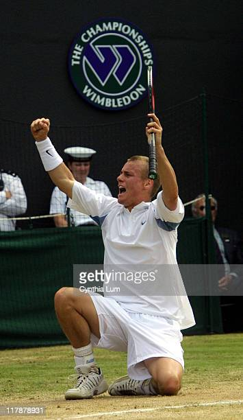 Lleyton Hewitt in his 62 62 67 16 75 win over Sjeng Schalken in the Quarterfinals of the 2002 Wimbledon Tennis Championships