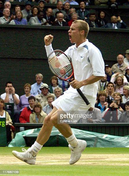 Lleyton Hewitt in his 75 61 75 victory over Tim Henman in the semifinals of the 2002 Wimbledon Tennis Championships