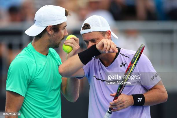 Lleyton Hewitt of Australia and Jordan Thompson of Australia in their semi final match against Ken Skupski of Great Britain and Neal Skupski of Great...