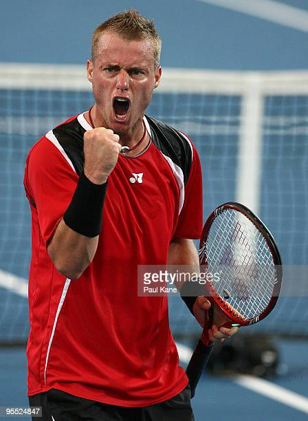 Lleyton Hewitt of Australia celebrates a point in his/her match against Victor Hanescu of Romania in the Group A match between Australia and Romania...
