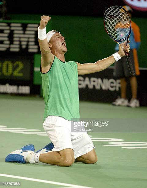 Lleyton Hewitt of Australia celebrates after his 2005 Australian Open Semi Final match against Andy Roddick Hewitt won 36 76 76 6