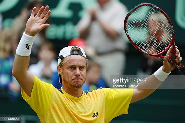 Lleyton Hewitt of Australia celebrates after winning his half final match against Benjamin Becker of Germany during the Gerry Weber Open at the Gerry...