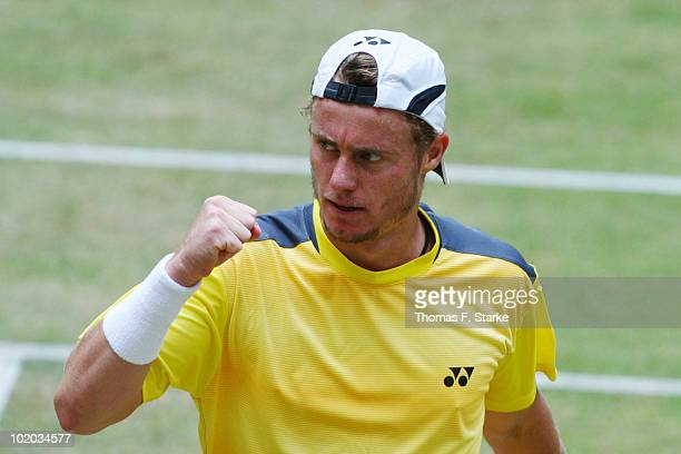 Lleyton Hewitt of Australia celebrates after winning the final match against Roger Federer of Suisse during the Gerry Weber Open at the Gerry Weber...