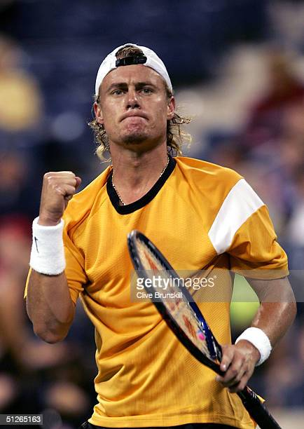 Lleyton Hewitt of Australia celebrates defeating Feliciano Lopez of Spain 61 64 62 during the US Open on September 5 2004 at the USTA National Tennis...