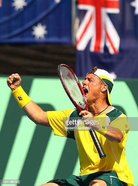 Lleyton Hewitt of Australia celebrates his win against Ruben Bemelmans of Belgium during day one of the Davis Cup tie between Australia and Belgium...