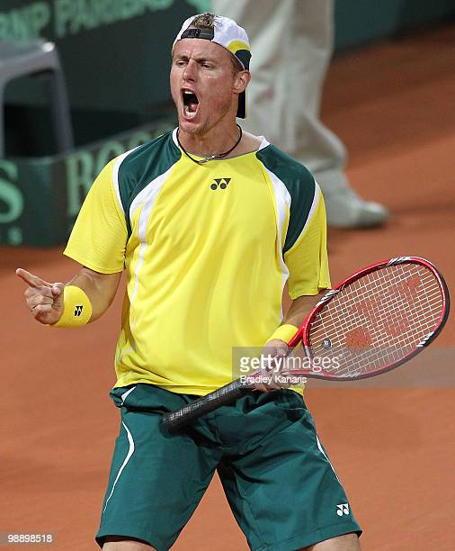 Lleyton Hewitt of Australia celebrates victory after his match against Totsuma Ito of Japan during the match between Australia and Japan on day one...