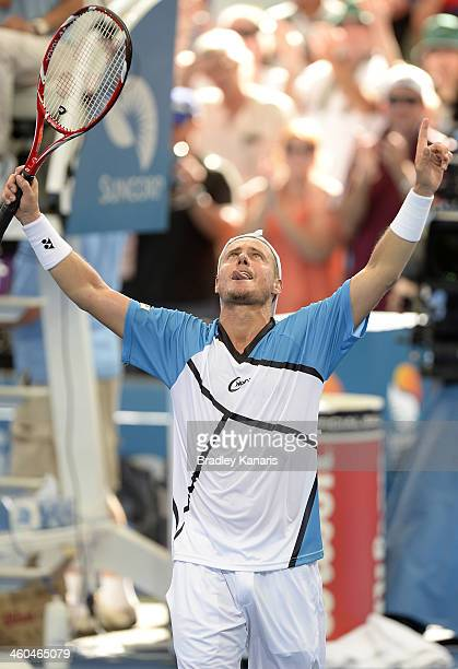 Lleyton Hewitt of Australia celebrates victory after his semi final match against Kei Nishikori of Japan during day seven of the 2014 Brisbane...