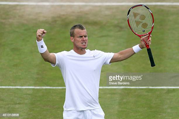 Lleyton Hewitt of Australia celebrates winning a set during his Gentlemen's Singles second round match against Jerzy Janowicz of Poland on day five...
