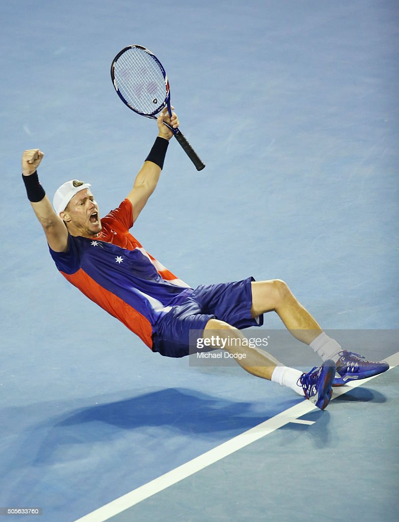 Lleyton Hewitt of Australia celebrates winning in his first round match against James Duckworth during day two of the 2016 Australian Open at Melbourne Park on January 19, 2016 in Melbourne, Australia.