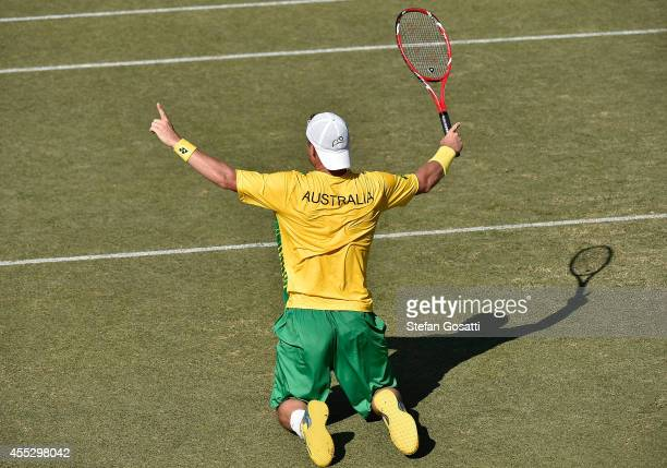 Lleyton Hewitt of Australia celebrates winning the rubber against Farruk Dustov of Uzbekistan in their singles match during the Davis Cup World Group...